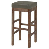 Valencia Bonded Leather Bar Stool with Drift Wood Legs, Vintage Gray