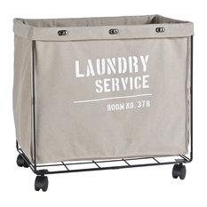 Danya B - Danya B. Army Canvas Laundry Hamper on Wheels - Hampers