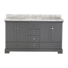 Gowan Gray Bathroom Vanity With Marble Countertop, 60""