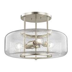 Seeded Glass Semi-Flush Ceiling Light Satin Nickel 3-Light