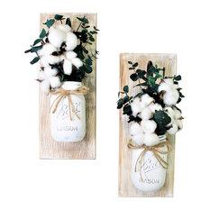 Cotton Pickin Blessed Mason Jar Wall Sconces Floral Arrangements, Set of 2