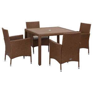 Safavieh Venice Outdoor Living Set, 5-Piece, Toasted Almond and Sand