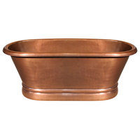 Handmade Copper Double Ended Freestanding Bathtub, Hammered Copper