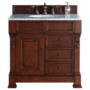 """Brookfield 36"""" Single Vanity Warm Cherry, 3cm Arctic Fall Solid Surface Top"""