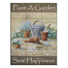 Tile Mural, Sow Happiness - RB, 32.4x43.2 cm