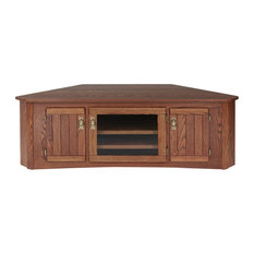 The Oak Furniture Shop   Solid Oak Mission Style Corner TV Stand With  Cabinet, Mission