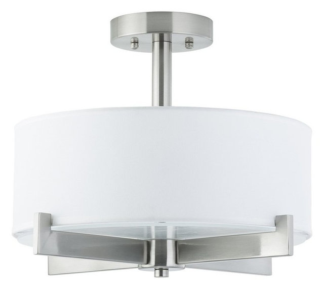 Marimba Semi Flushmount Ceiling Light, Brushed Nickel