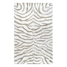 Hand Tufted Plush Zebra Rug, 6' Round