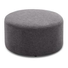 24-inch Round Pouf Fabric Footstool Ottoman Gray