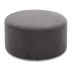 "24"" Round Pouf Fabric Footstool Ottoman, Gray"