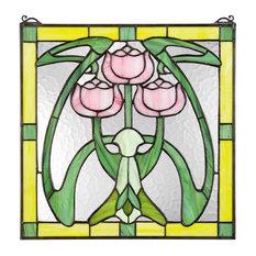 Glasgow Basket Stined Glass Window Wall Decor