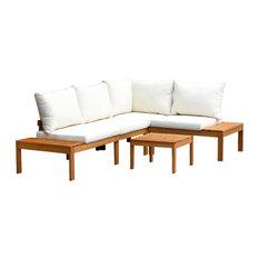 Amazonia Teak Finish Feroe 3-Piece Deep Seat Conversation Set With Cushions