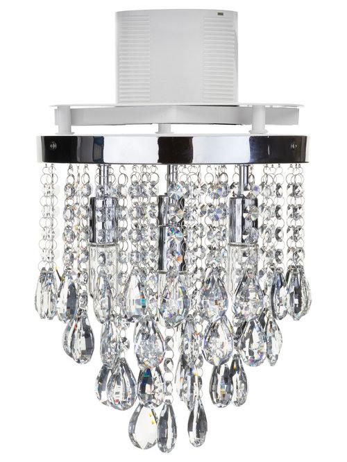 4 Light Bathroom Crystal Droplet Plate with Extractor Fan - Chrome - Lighting  sc 1 st  Houzz & Bathroom Ceiling Lights with Extractor Fan from Litecraft azcodes.com