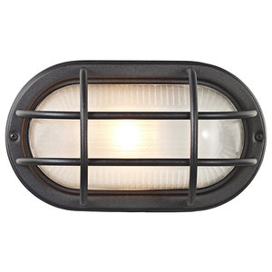 Matt Black Cast Aluminium Outdoor Oval Bulkhead Wall Light