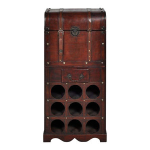 Traditional 9-Bottle Wine Rack, Solid Wood With Small Drawer and Storage Chest