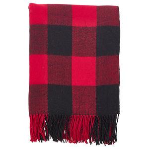 """Buffalo Plaid Checkered Tassel Throw, Red, 50""""x60"""""""