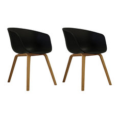 Danish Style Dining Arm Chair, Natural Legs, Black, Set of 2