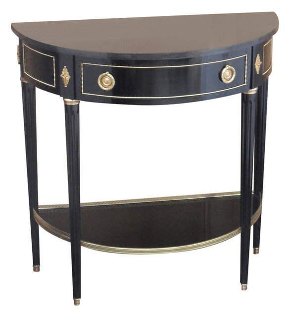 Superieur LXVI Black Cherry Wood Console Table With Marble Top
