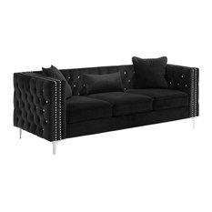 Lorreto Velvet Sofa, Black