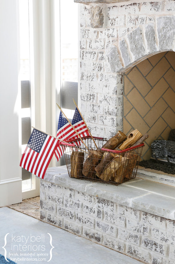 Mortar Rub Outdoor Fireplace, Mini American Flag,  Limestone Slate Hearth