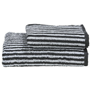 Stripes Towel Collection, Anthracite and White, Set of 2