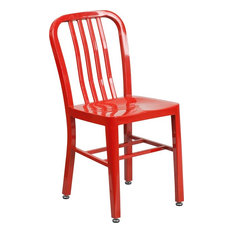Brimmes Red Metal Chair With Vertical Slat Back