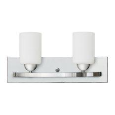 Damara 2-Light Bath Vanity, Chrome, Linen Glass