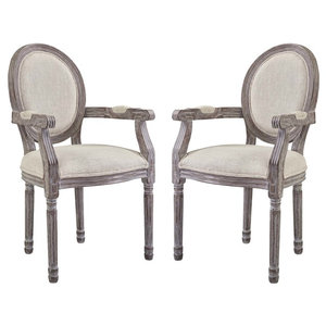 Country Farm House Dining Side Chair, Set of 2, Fabric Wood, Beige