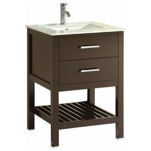 """Eviva Natalie F. 24"""" Espresso Bathroom Vanity"""