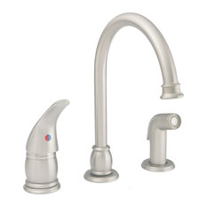 Single Lever Kitchen Faucet With Matching Spray, Brushed Nickel
