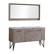 Kubebath Bosco 60 Double Sink Bathroom Vanity With Quartz Countertop And Mirror