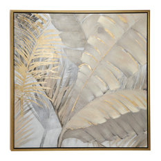 Acrylic Painting Of Palm Leaves and Ferns In Wood Frame