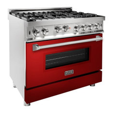 """ZLINE 36"""" Professional Gas on Gas Range in Stainless Steel with Red Gloss Door"""
