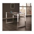 Coaster Contemporary Chrome and Glass Top Writing Desk