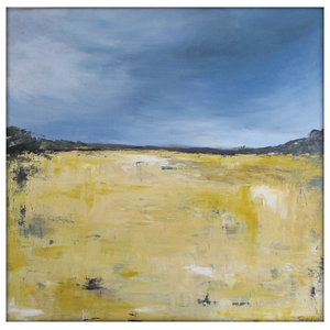 Abstract Landscape Modern Minimalist Acrylic Painting on Canvas, 36x36, Yellow