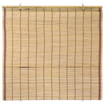 """Oriental Furniture - Burnt Bamboo Cordless Window Shade, Tortoise, 60"""" W - This fashionable cordless window Shade, is constructed from all-natural, woven bamboo. The hued bamboo has an earthy, organic appearance that complements a wide variety of interior decorating styles."""