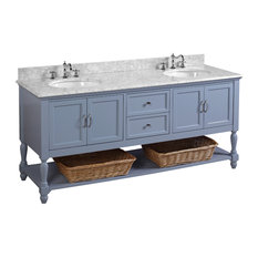 """Beverly 72"""" Double Bath Vanity With Carrara Top, Powder Blue"""