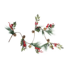 "54"" Snow Dusted Berries and Long Pine Needles Christmas Garland"