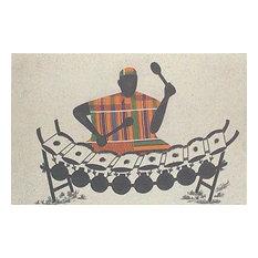 Handmade Xylo Player Kente cloth wall art - Ghana