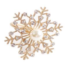 Decorative Christmas Metal Napkin Rings - Set of 4, Matte Gold Snowflake
