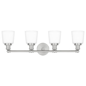 Union 4-Light Bath Fixture With Opal Etched Glass, Brushed Nickel