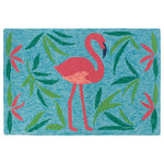 Company C - Fancy Flamingo Rug, Aqua, 2' x 3' Doormat - Inspired by a favorite symbol of summer, our pretty flamingos will infuse your home with a serious splash of whimsy. Drenched in pinks, greens (even a splash of navy) against a two-toned aqua background.