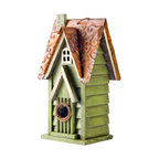 Rustic Garden Distressed Wooden Birdhouse, Window