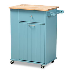 Liona Modern And Contemporary Sky Blue Finished Wood Kitchen Storage Cart