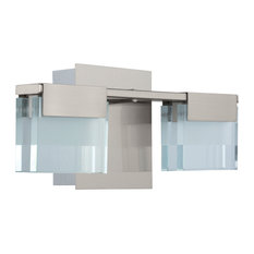 Vicino 2-Light LED Bath/Vanity, Satin Nickel, Frosted Clear Glass