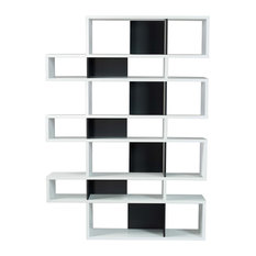 TemaHome London 003 Compostition Bookcase, Pure White Frame/Pure Black Backs