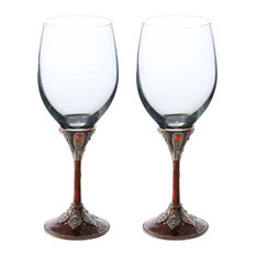 Pair of Medieval Gweneviere Royal Metal Stem Fully Decorated Wine Glasses