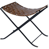 Butler Industrial Chic Accent Stool In Medium Brown Finish 5448344