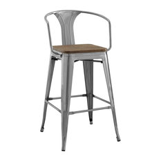 Promenade Steel Metal Bar Stool, Gunmetal