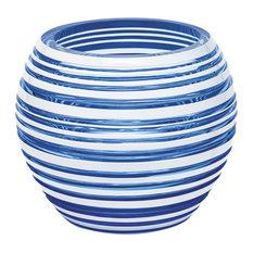 "Stratis Vase, Aqua/White, 7"""